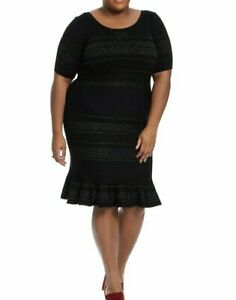 Details about Taylor Dresses Sweater Plus Size Dress In With Ruffle Hem In  Black & Gold 2X