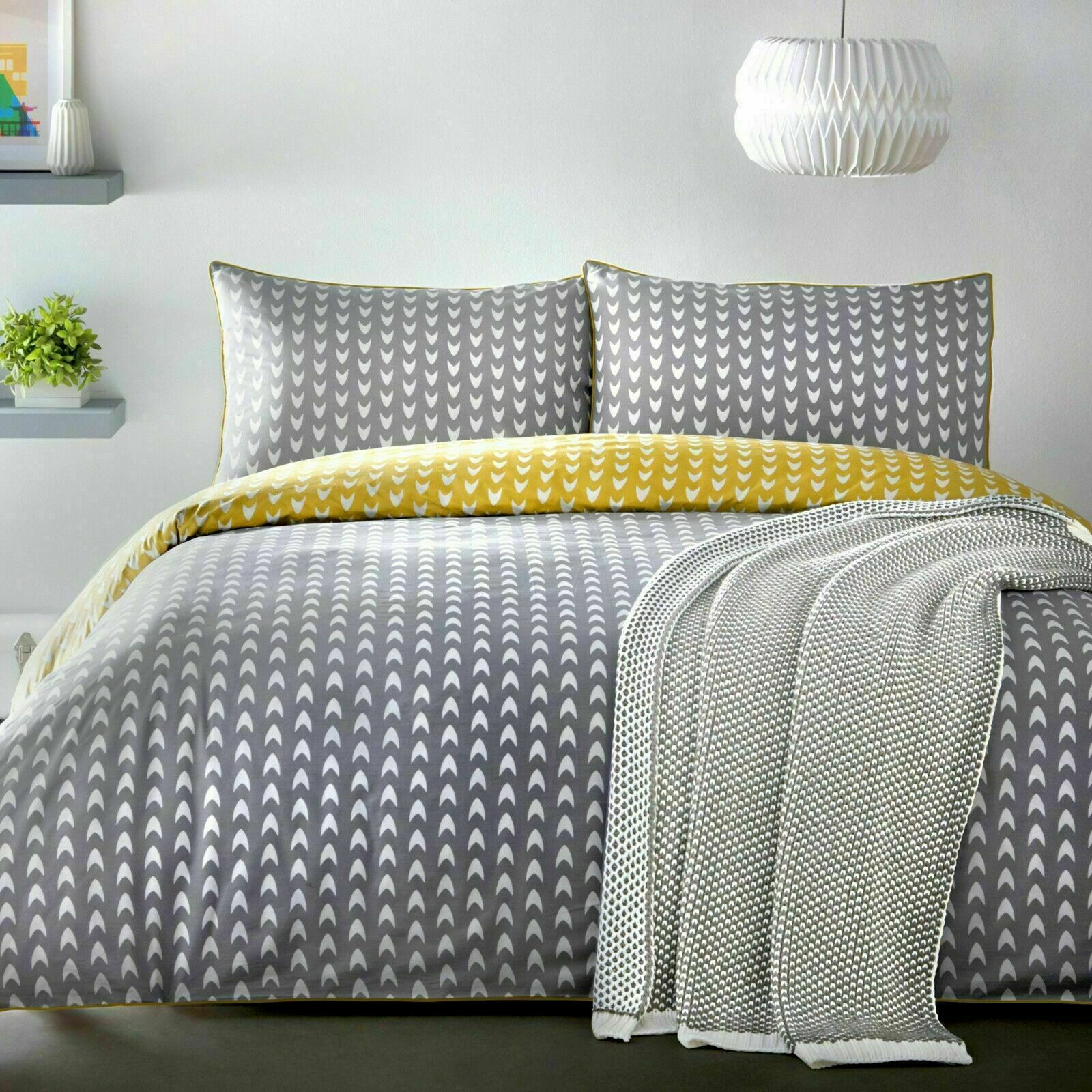 Appletree Dari Gelb Ochre Chevron 100% Cotton Percale Duvet Cover Set