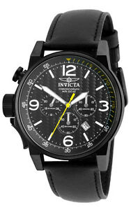 Invicta-I-Force-20140-Men-039-s-Round-Black-Left-Hand-Chronograph-Date-Leather-Watch