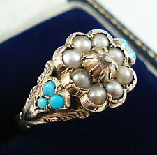 Early Victorian 9ct Gold Diamond & Turquoise Ring.