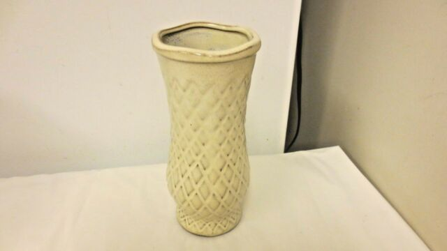 "Older Pottery Waffle Design 8"" Vase-Cream Drip over Brown"