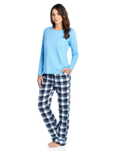 Ashford /& Brooks Womens Cotton Long-Sleeve Top and Flannel Bottom Pajama Set