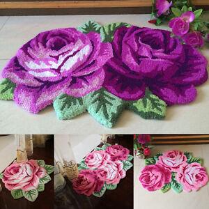 Alfombra-Rosa-Flores-3D-Suave-Antideslizante-Alfombra-Estera-De-Puerta-Dormitorio-Alfombra-de