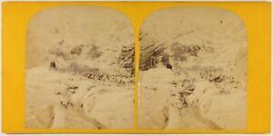 Suisse Ghiacciaio A Grindelwald Foto Stereo c1870 Vintage Albumina X Danneggiati