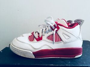 2015-Youth-Nike-Air-Jordan-IV-4-Alternate-89-039-White-Red-Size-1Y-Used-Rare-NDS
