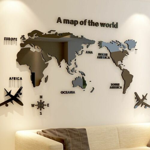 World Map Acrylic Wall Stickers Creative 3D Living Room Office DIY Home Decors