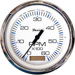"Faria 33832 Chesapeake White 0-6000 RPM Tachometer with Hourmeter 4"" Gas TC9128"