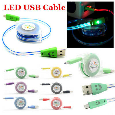 1M/3FT LED Light Retractable Micro USB Data Sync Charger Cable For Mobile Phones