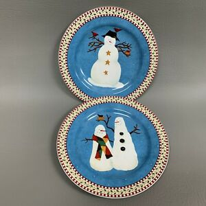Sakura-Debbie-Mumm-Salad-Plates-1998-Snowman-8-1-4-Excellent-Condition-Lot-of-2