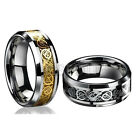 8MM Celtic Dragon Titanium Steel Jewelry Men Ring Wedding Band Size 12