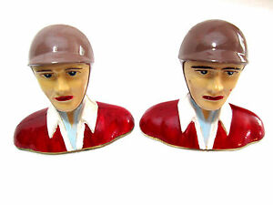 """Lot of 2 Vintage Hand Painted Jockey Pieces/Torsos Toppers 3"""" wide x 3"""" tall"""