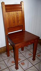 Vtg Stickley Style Mission Oak Old Arts & Crafts Antique Solid Wood Panel Chair