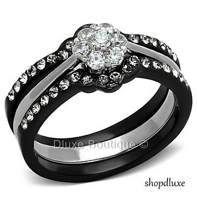 1.85 CT ROUND CUT CZ BLACK STAINLESS STEEL WEDDING RING SET WOMEN'S SIZE 5-10