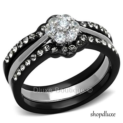 1.85 CT ROUND CUT CZ BLACK STAINLESS STEEL WEDDING RING SET WOMEN'S SIZE 5-10