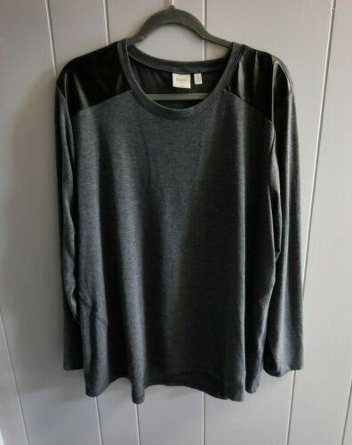 Raffaella Sport Long Sleeve Top with Faux Leather