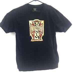 Vintage-Men-s-Cremieux-Denim-Graphic-Cotton-T-Shirt-XL-Blue-Single-Stitch-EUC