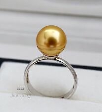 HS 10.65mm Golden South Sea Cultured Pearl Ring 925 Sterling Silver AAA Grading