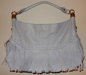 B Makowsky Gray Glove Leather Fringe Hobo Bag Sholder Bag Handbag ... fca1dc4f36