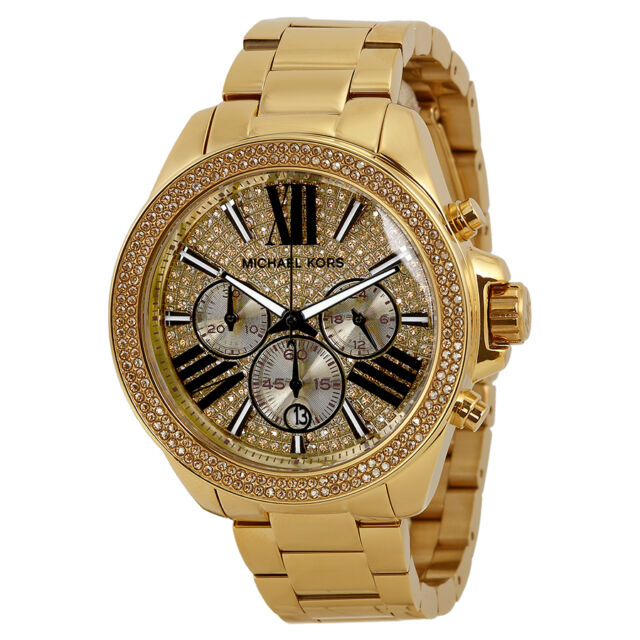Michael Kors Wren Chronograph Crystal Gold-plated Ladies Watch MK6095