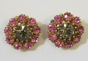 Vintage-Rhinestone-Clip-On-Earrings-Pink-sparkly-fun