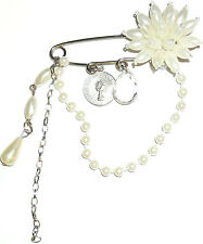 STUNNING WHITE FAUX PEARL BEADED HANGING KILT PIN FLOWER BROOCHES X4, 7.5CM WIDE