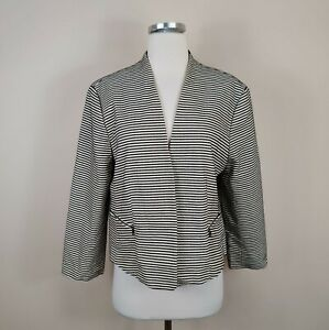 Ann-Taylor-16-Jacket-Open-Front-Blazer-Beige-Black-Stripe-Zipper-Pocket-Cotton