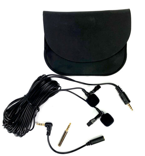 Mini Portable 4800mm Double Microphone Clip Lapel Recording MacBook Video Live