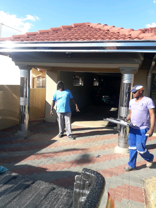 Gutters stainless steel, Pillars cover stainless steel