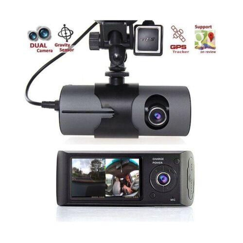 DVR AUTO TELECAMERA CON MONITOR R300 1280 X 480 DOPPIA LENTE SENSORE GPS REC