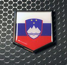 """Slovenia Flag Domed CHROME Emblem Proud Triglav Flag Car 3D Sticker 2""""x 2.25"""""""