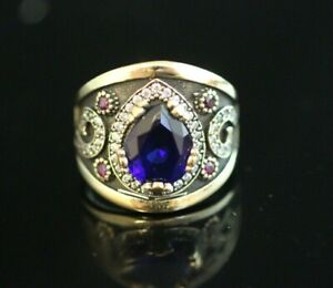 925-Sterling-Silver-Handmade-Antique-Turkish-Sapphire-Ladies-Ring-Size-7-9