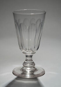 Antique-Victorian-Rummer-Drinking-Glass-with-Flute-Cuts-amp-Baluster-Stem-c1850