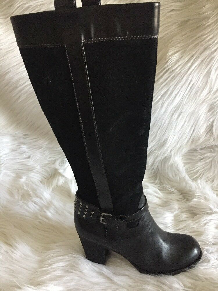 Naturalizer N5 Comfort Womens GLASSY Knee High Boots Leather Black 6M Studded