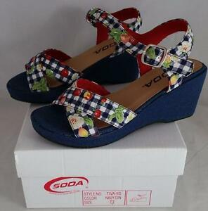 Soda Tiva IIS Girls Youth Navy Wedge Sandals
