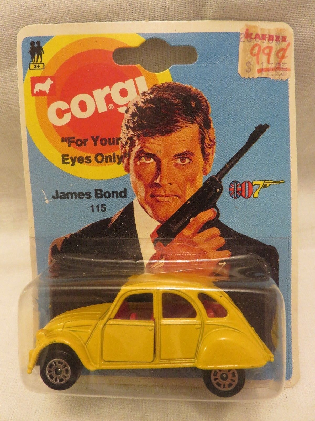 Vintage CORGI JR  115 James Bond 007 Citroen 2CV6 jaune Diecast Original