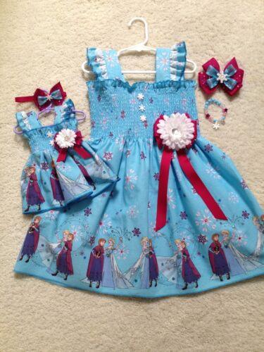 Doll Dress Hair Bow New Handmade Blue Elsa /& Anna Dress Toddler//Girls 2T-7//8