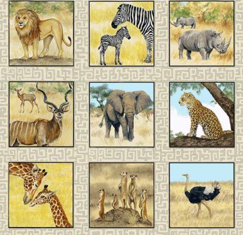 Safari Animal Etiquetas paneles Colchas de retazos de tela 55 paneles individuales 1532 makower