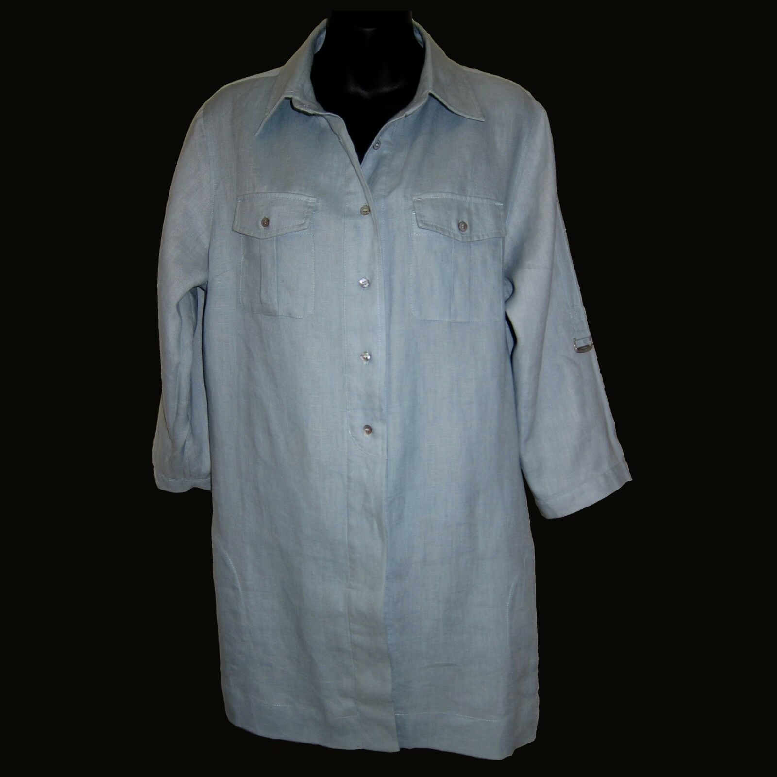 Soft Surroundings Sz L Linen Safari Tunic Shirt Roll Tab Sleeve Seafoam Grün