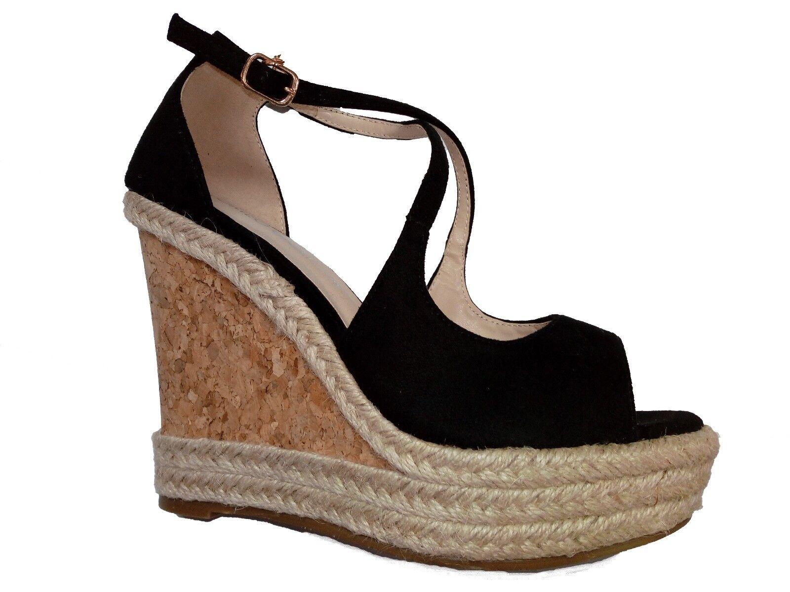 Sandale ROMEO GIGLI Damenschuhe Zoccoli con Zeppa tg 38 Camoscio Nero nuova collezione