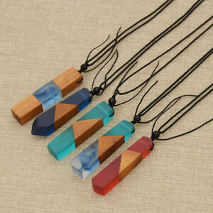 5c801f1bb89b04 Image is loading DIY-Unisex-Fashion-Handmade-Resin-Wood-Pendant-Necklace-