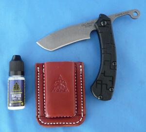 TOPS-Tac-Raze-Friction-Folder-Folding-Knife-1095-Carbon-Steel-Black-G-10-Leather