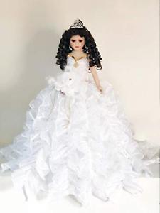 "Jmisa 24"" Umbrella Porcelain Dolls Quince Anos White/Gold"
