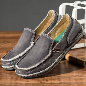 men's canvas casual shoes flats driving boat slip on
