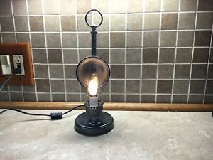 vtg-electric-Wood-And-Brass-Hurricane-Candle-Table-Lamp-Light-Reflector-13