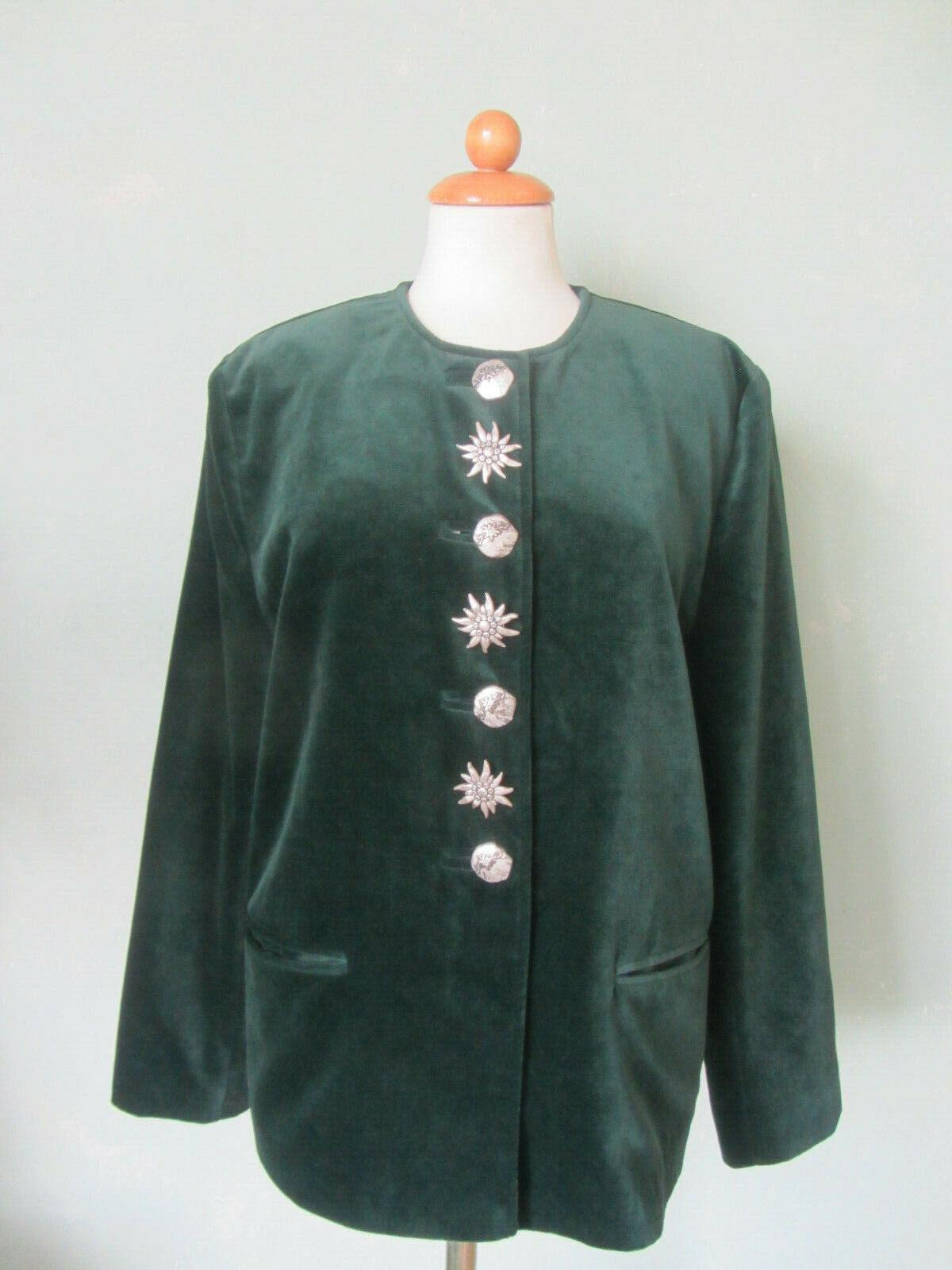 AMANN Trachtenjacke Jacke Trachten grün Samtjacke Größe 40 L