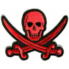 RED PIRATE SWORD SKULL EMBROIDERED PATCH