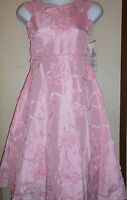 Rare Editions Girls Tea Length Organza Special Occasion Ribbon Dress Pink 10