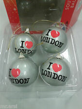 4 CHRISTBAUMKUGELN KUGELN   I ♥ LONDON - SILBER - I LOVE LONDON