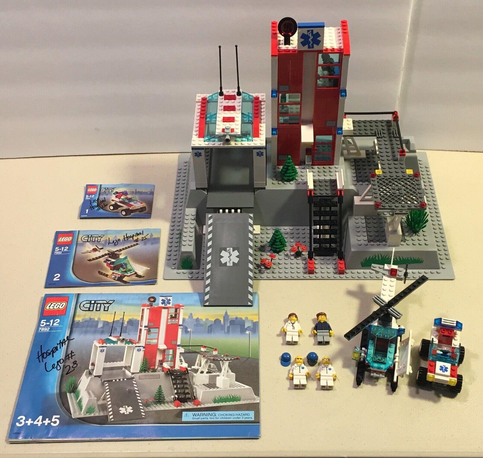 Lego Ciudad 7892 hospital de ciudad 2006 con manuales Minifiguras &