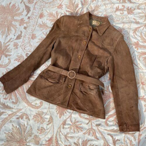 Vintage 1930s Suede Jacket Coat Town & Country Cel
